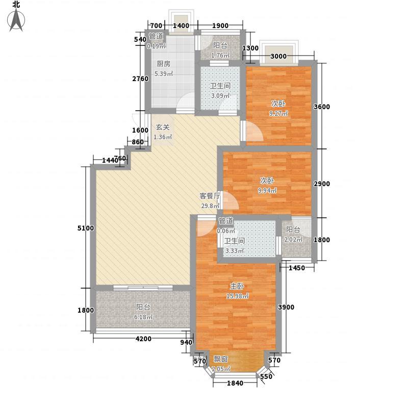 千城凤梧金沙113.80㎡D3思海居户型3室2厅2卫1厨