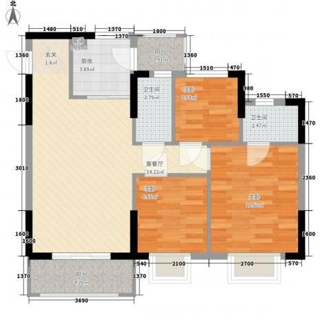 威斯广场3室1厅2卫1厨90.00㎡户型图