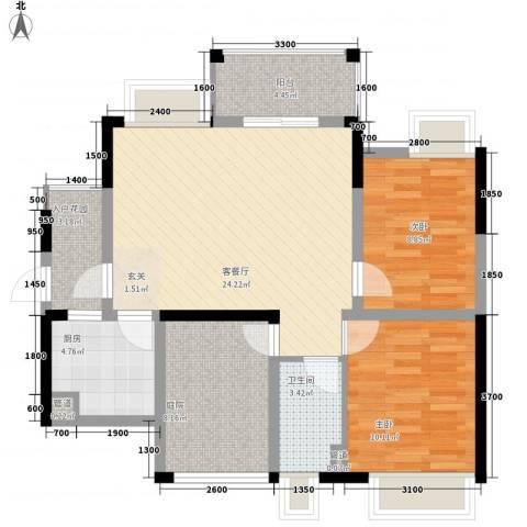 石排国际公馆2室1厅1卫1厨98.00㎡户型图