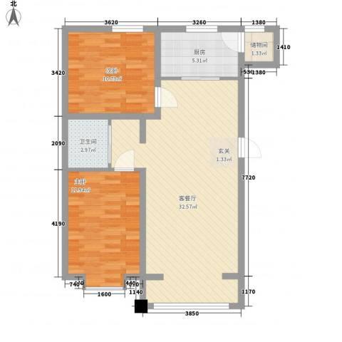 恒盛花园2室1厅1卫1厨64.85㎡户型图