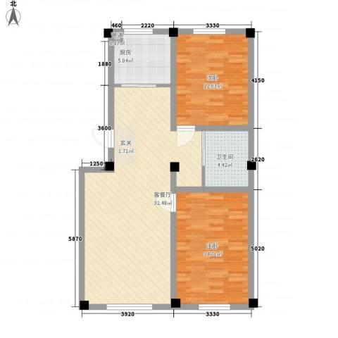 恒盛花园2室1厅1卫1厨88.00㎡户型图