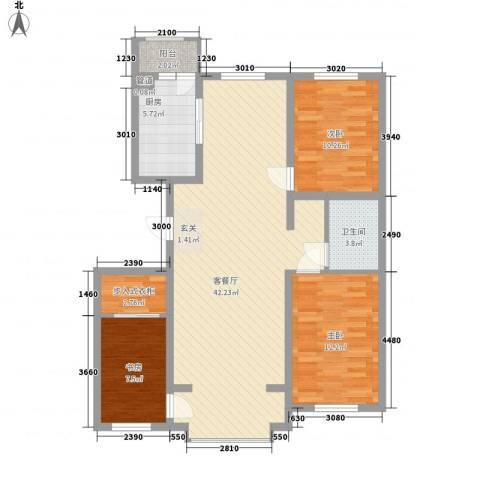 恒盛花园3室1厅1卫1厨118.00㎡户型图