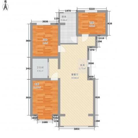恒盛花园3室1厅1卫1厨70.67㎡户型图