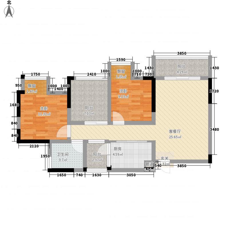 上城中央86.22㎡一期2幢/8幢标准层D3-5户型2室1厅1卫1厨