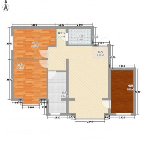 恒盛花园3室1厅1卫1厨73.94㎡户型图