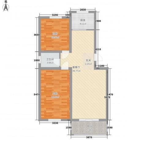 山水龙庭2室1厅1卫1厨69.73㎡户型图