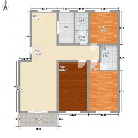 山水龙庭3室2厅2卫1厨134.00㎡户型图