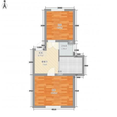 金泰嘉园2室1厅1卫1厨53.00㎡户型图