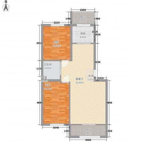 幸福里田园都市2室1厅1卫1厨70.89㎡户型图