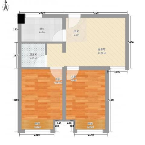 向阳驿2室1厅1卫1厨58.00㎡户型图