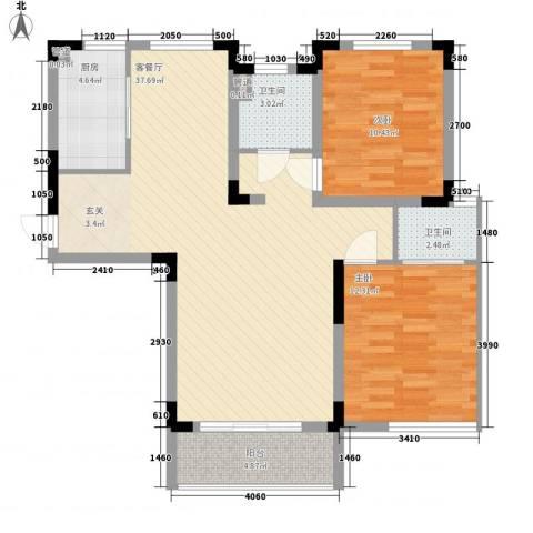 凯运天地2室1厅2卫1厨75.58㎡户型图