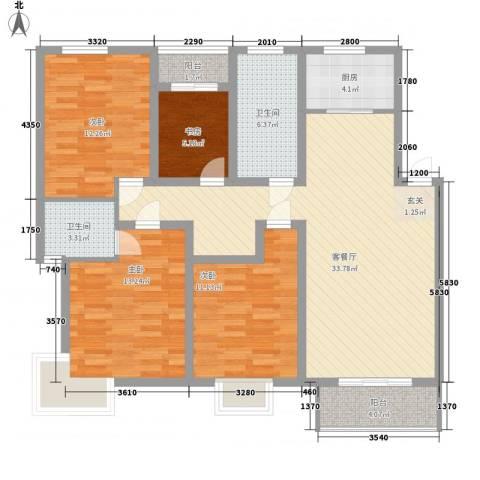 红豆花园4室1厅2卫1厨138.00㎡户型图