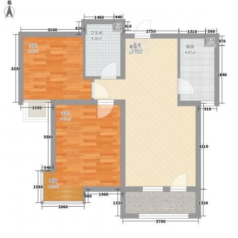 开运大厦2室1厅1卫1厨87.00㎡户型图