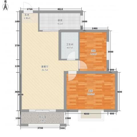 紫薇花园2室1厅1卫1厨100.00㎡户型图