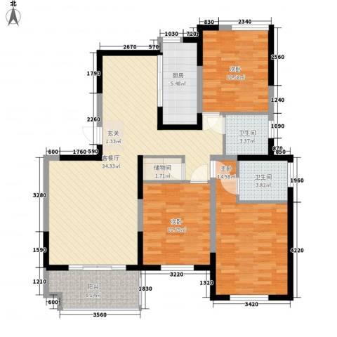 凯运天地3室1厅2卫1厨90.80㎡户型图