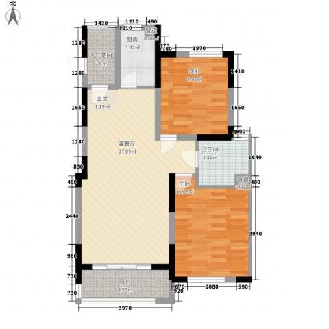凯运天地2室1厅1卫1厨63.58㎡户型图