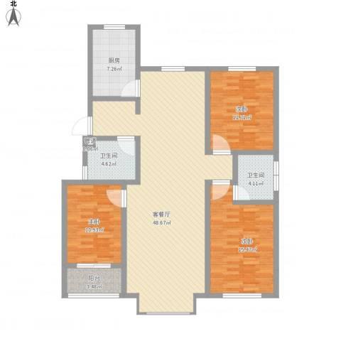 御品星城3室1厅2卫1厨138.00㎡户型图