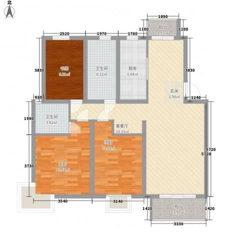红豆花园3室1厅2卫1厨124.00㎡户型图