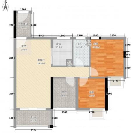 石排国际公馆2室1厅1卫1厨88.00㎡户型图