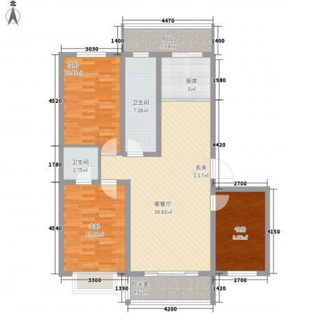 紫薇花园3室1厅2卫1厨131.00㎡户型图