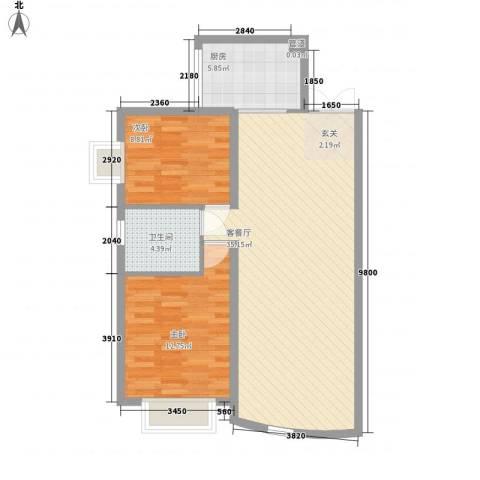 岭东路教师公寓2室1厅1卫1厨93.00㎡户型图