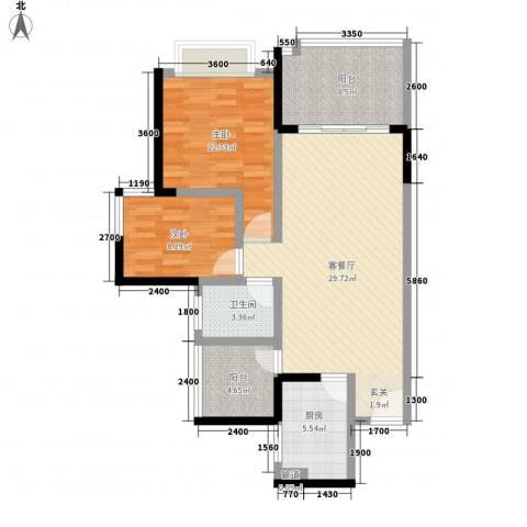 科龙物业2室1厅1卫1厨106.00㎡户型图