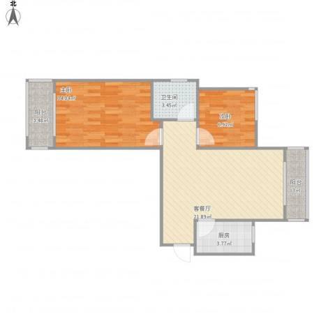 绿地世纪城・塞纳印象2室1厅1卫1厨77.00㎡户型图