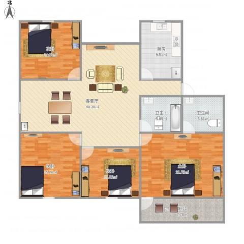 湖畔花园4室1厅2卫1厨177.00㎡户型图