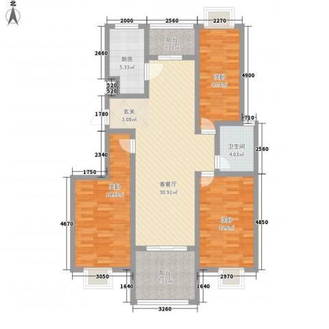 如意花园3室1厅1卫1厨102.35㎡户型图