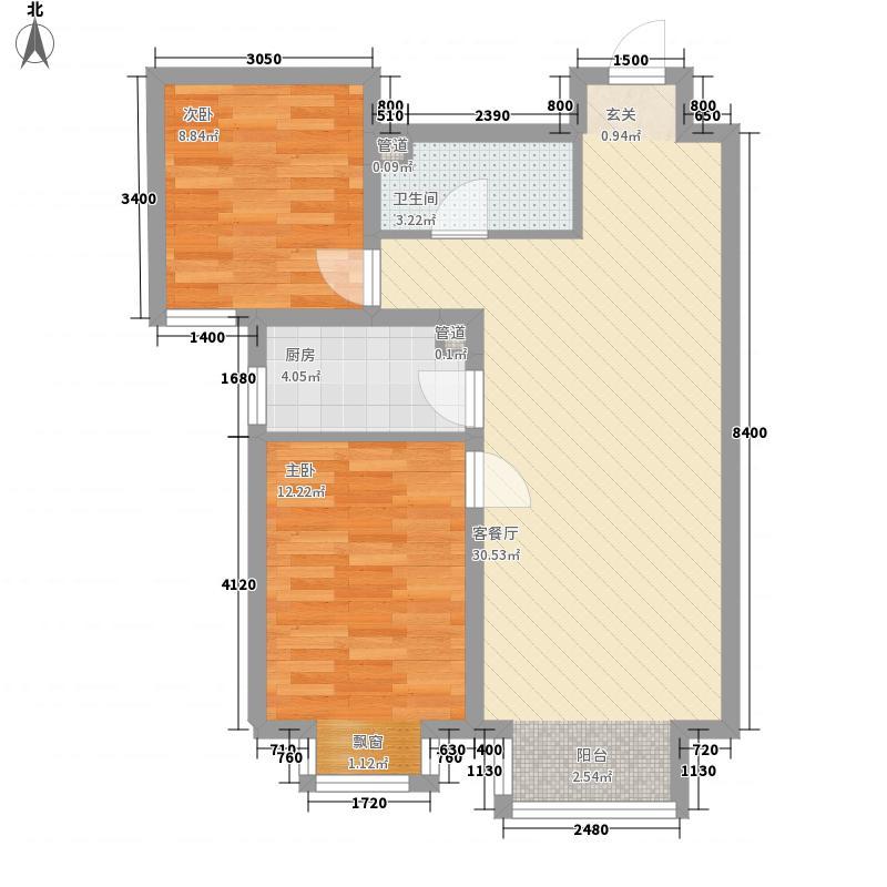 夏威夷・蓝湾86.00㎡北区1-17#F22居户型2室2厅1卫1厨