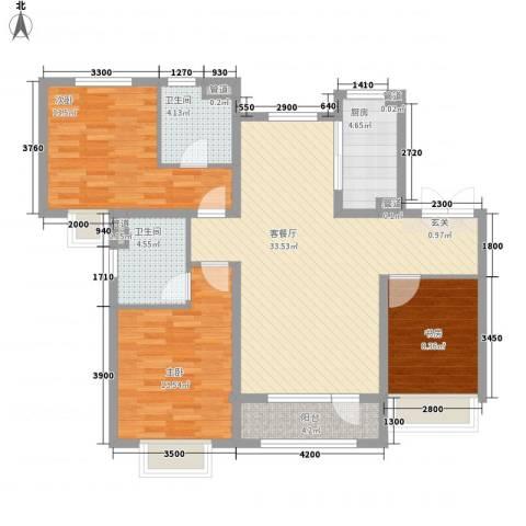 华发九龙湾中心3室1厅2卫1厨131.00㎡户型图