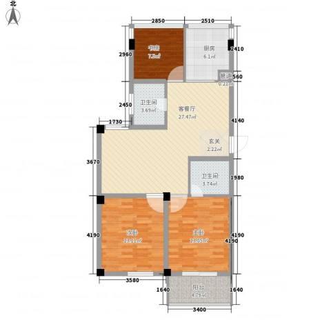 柳岸晨韵3室1厅2卫1厨113.00㎡户型图