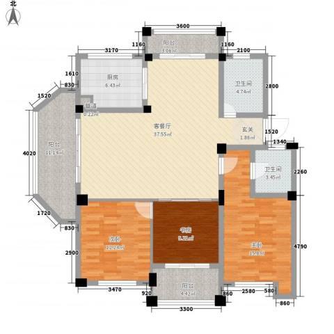 柳岸晨韵3室1厅2卫1厨154.00㎡户型图