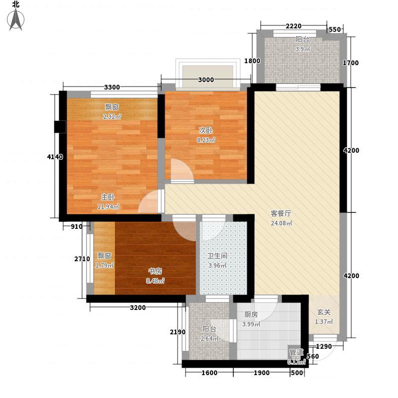 世豪瑞丽1.40㎡5、6号楼C3户型3室2厅1卫1厨