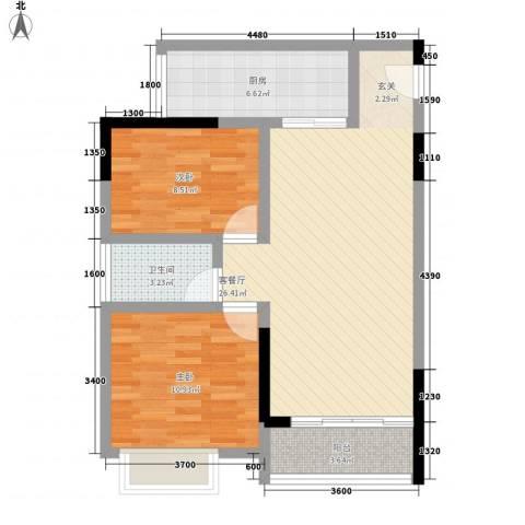 鸿翠阁2室1厅1卫1厨69.17㎡户型图