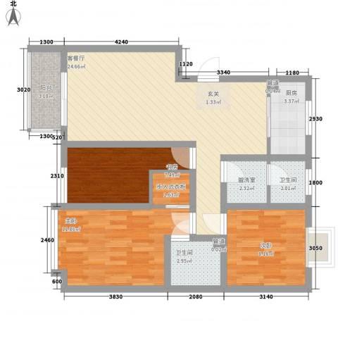 湖山园3室2厅2卫1厨100.00㎡户型图
