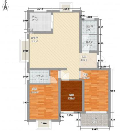 湖山园3室2厅2卫1厨115.00㎡户型图