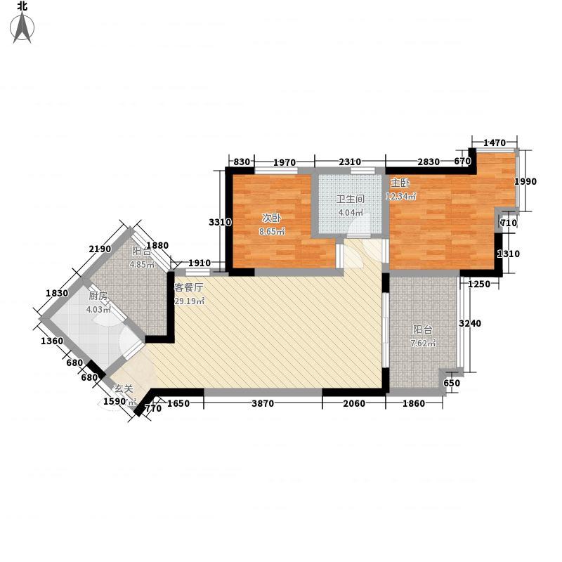 两河锦地86.26㎡C4型户型2室2厅1卫1厨