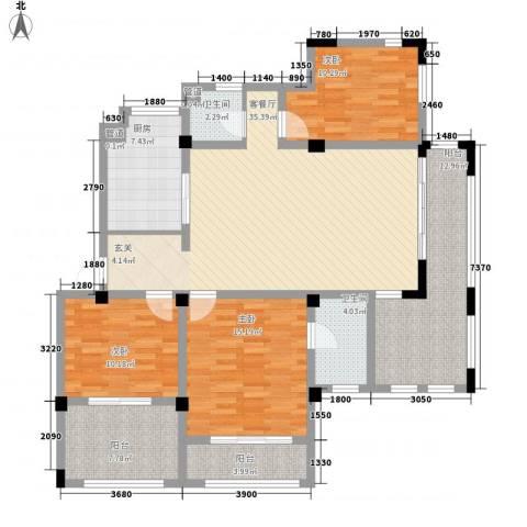 半岛蓝湾3室1厅2卫1厨148.00㎡户型图