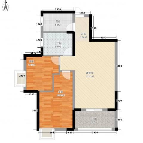 七里庙供电局宿舍2室1厅1卫1厨73.61㎡户型图