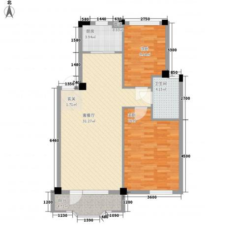 中庚香海连天第二季2室1厅1卫1厨83.00㎡户型图