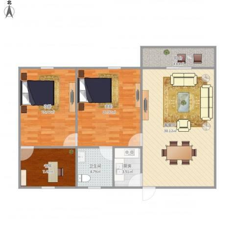 金瑞城市风景3室1厅1卫1厨111.00㎡户型图