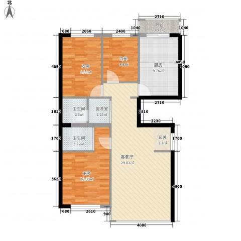 金安桃源城市3室2厅2卫1厨109.00㎡户型图