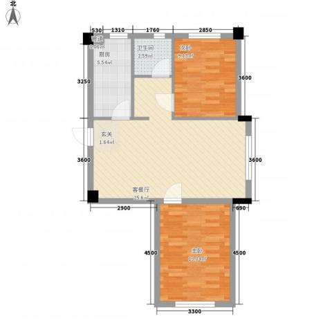 中庚香海连天第二季2室1厅1卫1厨69.00㎡户型图