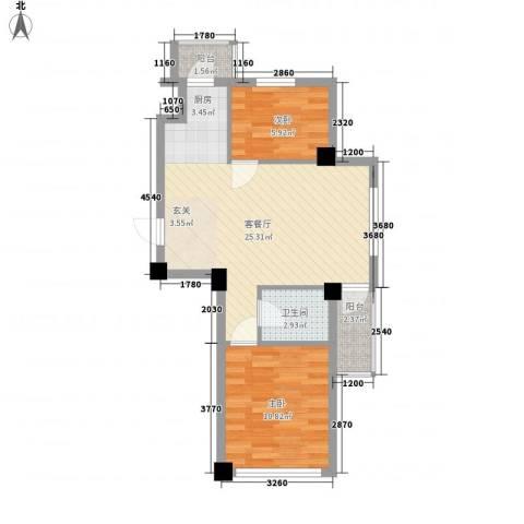 澜・语2室1厅1卫0厨71.00㎡户型图