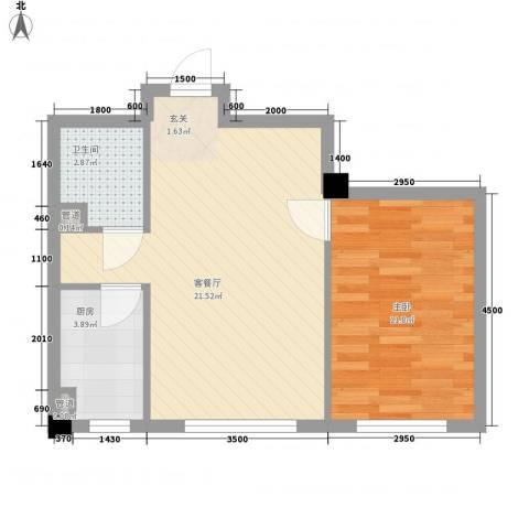 中庚香海连天第二季1室1厅1卫1厨53.00㎡户型图