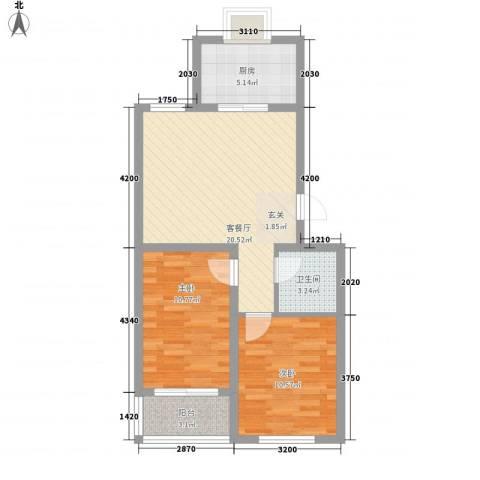 河畔景苑2室1厅1卫1厨77.00㎡户型图