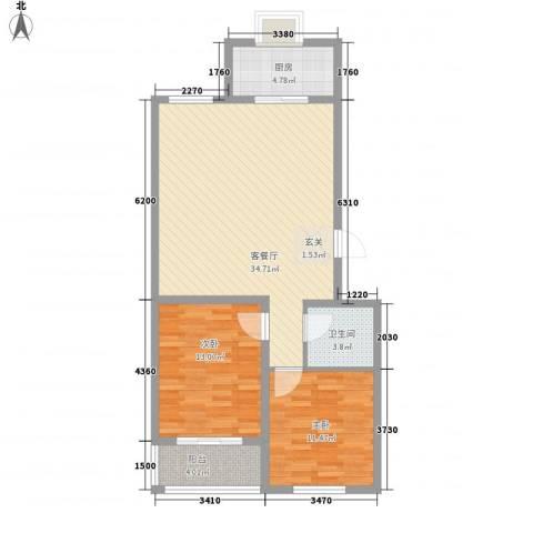 河畔景苑2室1厅1卫1厨102.00㎡户型图