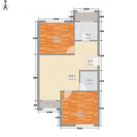 龙乡小区2室1厅1卫1厨83.00㎡户型图