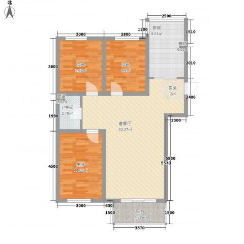 东大智慧森邻3室1厅1卫1厨77.07㎡户型图